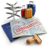 Concept d'immigration Passeport avec des timbres et des visas, bagage et illustration de vecteur