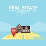 Concept d'immobiliers avec la maison à vendre et le loyer illustration libre de droits
