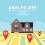 Concept d'immobiliers avec la maison à vendre et le loyer illustration de vecteur