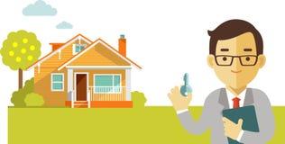 Concept d'immobiliers avec la maison et agent immobilier dans l'appartement Photographie stock libre de droits
