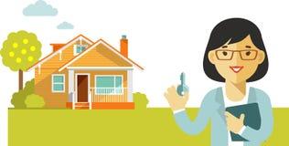 Concept d'immobiliers avec la maison et agent immobilier dans l'appartement Image stock
