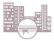 concept d'immobiliers avec une maison et une clé Photo stock