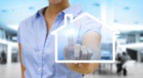 Concept d'immobiliers de Bussinesswoman Photographie stock