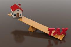 Concept d'impôts avec le modèle de la Chambre 3d Photographie stock libre de droits