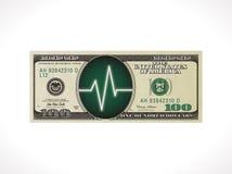 Concept d'impulsion d'affaires - 100 dollars avec le moniteur de sonde de battement de coeur Image libre de droits