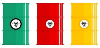 Concept d'industrie L'ensemble de métal coloré différent barrels pour radioactif, toxique, dangereux, dangereux, inflammable et Photo libre de droits