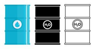 Concept d'industrie L'ensemble de métal différent barrels pour les substances liquides, liquides, l'eau d'isolement dans le style Photographie stock libre de droits