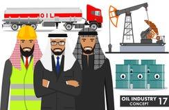 Concept d'industrie pétrolière Illustration détaillée de camion d'essence, de pompe à huile, de barils et d'homme d'affaires musu Photos libres de droits