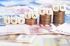 Concept d'inflation avec de l'euro argent Image libre de droits