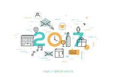 Concept d'Infographic 2017 ans d'occasions Photographie stock