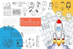 Concept d'Infographic de démarrage d'entreprise de croquis illustration de vecteur