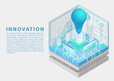 Concept d'innovation d'affaires de Digital avec le symbole de l'ampoule et du tableau de bord en tant qu'illustration isométrique illustration de vecteur