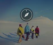 Concept d'instrument d'aventure de navigation de direction de boussole Images libres de droits