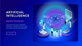 Concept d'intelligence artificielle Cerveau électrique Illustration isométrique illustration stock