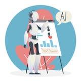 Concept d'intelligence artificielle Cerveau futuriste de technologie et de robot illustration stock