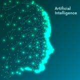 Concept d'intelligence artificielle Grande visualisation humaine futuriste de données Conception d'esprit de Cyber Apprentissage  illustration de vecteur