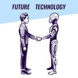 Concept d'intelligence artificielle Poignée de main d'humain et de robot Fond futuriste de vecteur de technologie de pointe d'AI illustration de vecteur