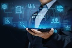 Concept d'Internet de technologie d'affaires de stratégie marketing de recherche de marché images libres de droits