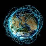 Concept d'Internet des affaires globales et des parcours aériens importants basés sur de vraies données Photo stock