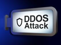 Concept d'intimité : Attaque de DDOS et bouclier contourné sur le fond de panneau d'affichage Photo libre de droits