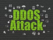 Concept d'intimité : Attaque de DDOS sur le fond de mur Photos stock