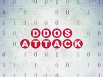 Concept d'intimité : Attaque de DDOS sur le fond de papier de données numériques Photo stock