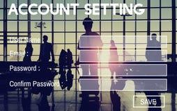Concept d'intimité d'identifiez-vous de mot de passe d'enregistrement d'arrangement de compte photos stock
