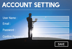 Concept d'intimité d'identifiez-vous de mot de passe d'enregistrement d'arrangement de compte image stock