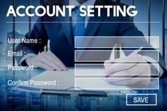Concept d'intimité d'identifiez-vous de mot de passe d'enregistrement d'arrangement de compte images libres de droits