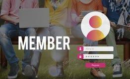 Concept d'intimité de mot de passe utilisateur de connexion de membre photos libres de droits