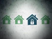 Concept d'intimité : icône à la maison sur le papier de Digital Photos libres de droits