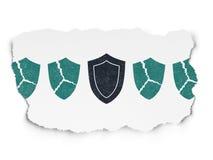Concept d'intimité : icône de bouclier sur le papier déchiré Photo libre de droits