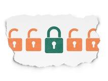 Concept d'intimité : icône de cadenas fermée par vert sur déchiré Photos libres de droits