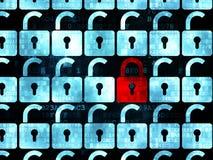 Concept d'intimité : icône fermée rouge de cadenas dessus Images stock
