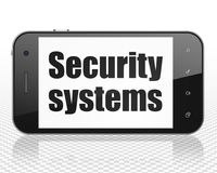 Concept d'intimité : Smartphone avec des systèmes de sécurité sur l'affichage Photographie stock libre de droits