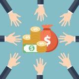 Concept d'investissement atteinte d'argent de mains Illustration de part d'argent illustration stock