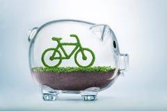 Concept d'investissement de bicyclette d'eco d'herbe Photo stock
