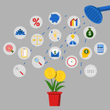 Concept d'investissement et d'épargne avec l'arbre de douche et d'argent Photo libre de droits