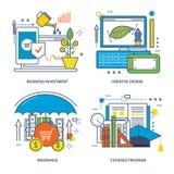 Concept d'investissement productif, de conception créative, d'assurance et de programme de cours illustration de vecteur