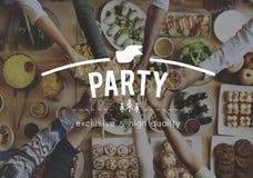 Concept d'invité de nourriture de repas de célébration de partie Image libre de droits