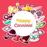 Concept d'invitation de carnaval avec le cadre de cercle Image libre de droits