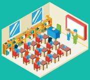 Concept 3d isométrique d'éducation et de classe d'école illustration stock