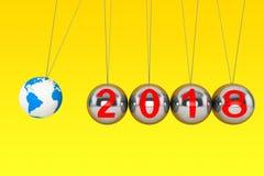 Concept d'an neuf Sphères de Newton avec la terre de globe et SI 2018 Photographie stock libre de droits