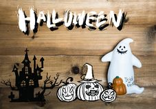 Concept d'objet de Halloween avec le fond en bois Halloween Pumpki photo stock