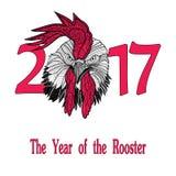 Concept d'oiseau de coq de la nouvelle année chinoise du coq Illustration tirée par la main de croquis de vecteur Photos stock