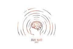 Concept d'ondes cérébrales Vecteur d'isolement tiré par la main illustration de vecteur