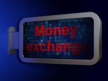 Concept d'opérations bancaires : Échange d'argent sur le fond de panneau d'affichage Image libre de droits
