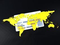 Concept d'opérations bancaires avec par la carte de crédit dans le contexte global Photo libre de droits