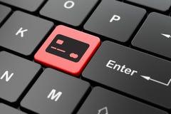 Concept d'opérations bancaires : Carte de crédit sur le fond de clavier d'ordinateur Images stock