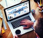 Concept d'opérations bancaires d'affaires de vente de finances Images libres de droits